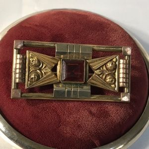 Jewelry - Authentic Antique Gold Filled Brooch with Glass